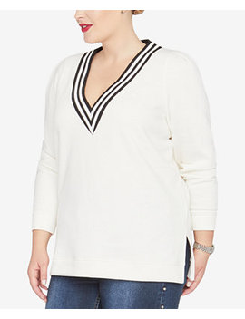 Trendy Plus Size Shiva V Neck Sweatshirt by Rachel Rachel Roy