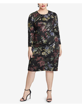 Trendy Plus Size Floral Printed Sheath Dress by Rachel Rachel Roy