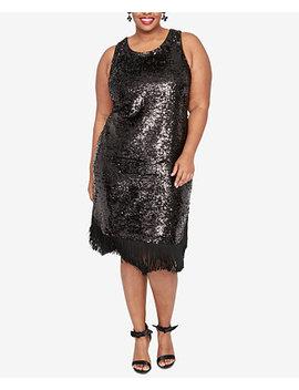 Plus Size Fringe Sheath Sequin Dress by Rachel Rachel Roy