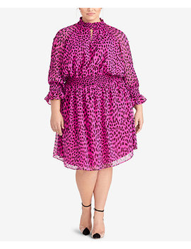 Trendy Plus Size Leopard Print Dress by Rachel Rachel Roy