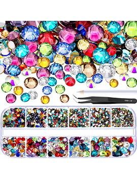 Tec Unite 2000 Pieces Flat Back Gems Round Crystal Rhinestones 6 Sizes (1.5 6 Mm) With Pick Up Tweezer And Rhinestones Picking Pen For Crafts Nail Face Art Clothes Shoes Bags Diy (Multicolors) by Tec Unite