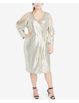Plus Size Cold Shoulder Metallic Wrap Dress by Rachel Rachel Roy