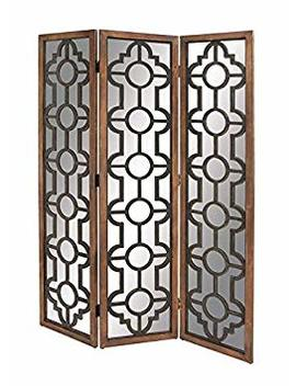 "Deco 79 Traditional Wood, Metal And Mirror 3 Panel Room Divider, 73"" H X 54"" L, Reflective Finish by Deco 79"