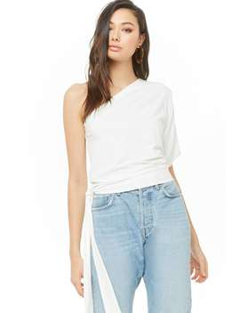 One Shoulder Tie Hem Top by Forever 21
