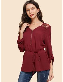 Zip Front Lace Belted Top by Shein