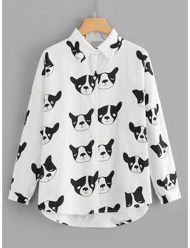 Dog Print Dip Hem Blouse by Sheinside