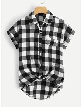 Single Breasted Plaid Knot Hem Shirt by Sheinside