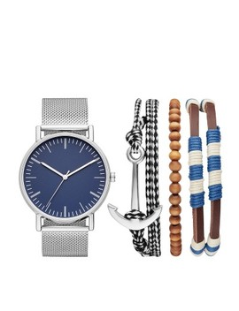 Men's Nautical Mesh Strap Watch Set   Goodfellow & Co™ Silver by Goodfellow & Co