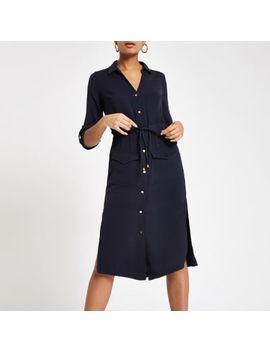 Navy Tie Waist Midi Shirt Dress by River Island