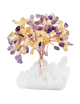 Mookaitedecor Amethyst Crystal Tree, Quartz Cluster Rock Crystal Base Bonsai Money Tree For Wealth And Luck by Mookaitedecor