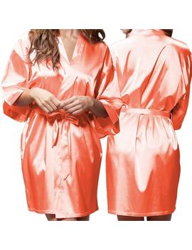 Coral Satin Kimono Robe   Glitter Monogram Personalization   Bridal Party Bridesmaid Robe by Etsy