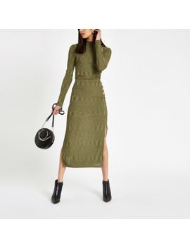 Green Ribbed High Neck Fitted Top                                    Khaki Button Side Jersey Midi Skirt by River Island