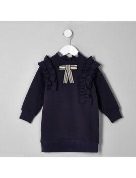 Mini Girls Navy Bow Ruffle Sweater Dress by River Island