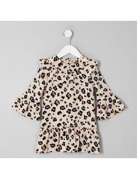 Mini Girls Brown Leopard Print Swing Dress by River Island