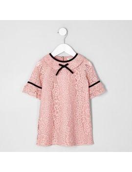 Mini Girls Pink Lace Shift Dress by River Island