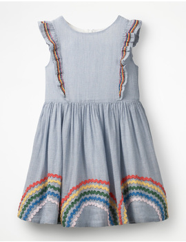 Embroidered Frill Dress by Boden