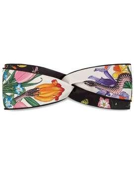 Headband Com Estampa 'flora Snake' by Gucci