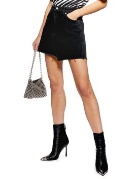 Asymmetrical Denim Miniskirt by Topshop