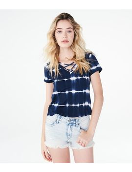 Seriously Soft Tie Dye Strappy V Neck Girl Tee by Aeropostale