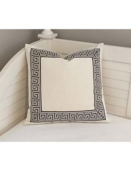 Alerie Sassoon Ivory Velvet With Pewter Gray Greek Key Trim Designer Pillowcase Cover Choice Of Trim Color Square by Alerie Sassoon