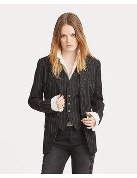 Pinstripe One Button Blazer by Ralph Lauren