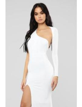 Feels Like Lust One Shoulder Dress   White by Fashion Nova