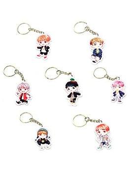Cute Cartoon Kpop Bts Bangtan Boys Keychain Key Ring Hot Gift For A.R.M.Y, 7 Pcs/Set (H01) by Nuofeng