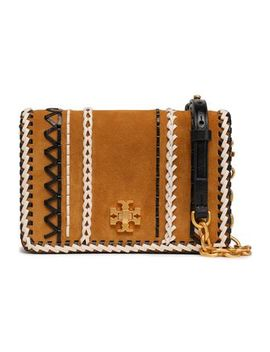 Whipstitch Trimmed Leather And Suede Shoulder Bag by Tory Burch