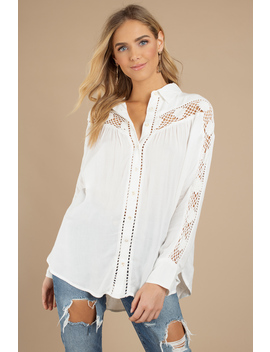 Free People Katie Bird Ivory Button Down Shirt by Tobi