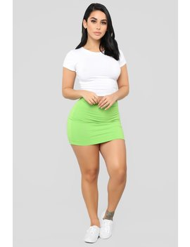 Melanie Mini Skirt   Lime by Fashion Nova