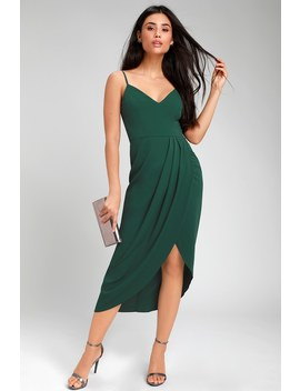 Reinette Dark Green Midi Dress by Lulus