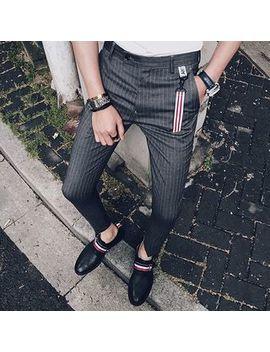 Orizzon   Slim Fit Stripe Cropped Pants by Orizzon