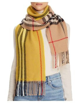 Giant Check Color Block Wool Scarf by Burberry