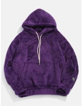 Solid Pouch Pocket Fluffy Hoodie   Purple Xl by Zaful