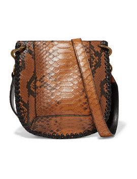 Nasko Whipstitched Snake Effect Leather Shoulder Bag by Isabel Marant