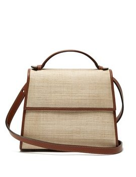 Top Handle Small Raffia And Leather Bag by Hunting Season