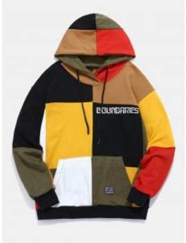 Color Block Patchwork Letter Hoodie   Multi Xl by Zaful