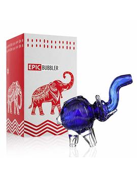 Hand Glass Elephant Device 5 Inch Blue For Dry Herbs by Noname