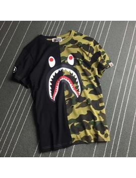 Men's Casual Camo Bape Shark Head Pattern Round Neck A Bathing Ape New Tee Shirt by Ebay Seller