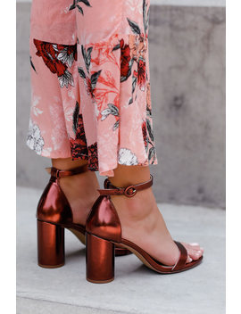 Audrina Copper Ankle Strap Heels by Lulus