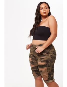 Plus Size Camo Print Bermuda Shorts by Forever 21