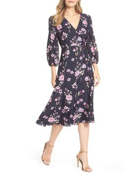 Floral Print Wrap Dress (Regular & Petite) by Eliza J