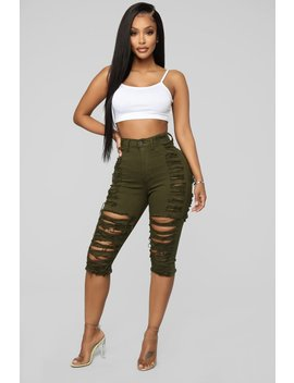Short And Sweet Denim Shorts   Olive by Fashion Nova