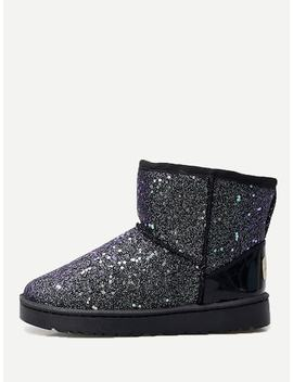 Glitter Faux Fur Lined Snow Boots by Sheinside