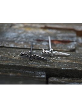 Silver Stud Earrings ,Knife, Sword, Dagger Cartilage Stud Earrings, 925 Sterling Silver,  Helix, Tragus, Piercing Jewelry, Minimal Small by Etsy