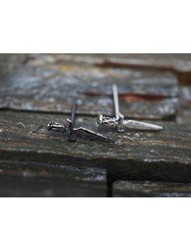 Silver Stud Earrings ,Knife, Sword, Dagger Cartilage Stud Earrings, 925 Sterling Silver,  Helix, Tragus, Piercing Jewelry, Minimal Small by Etsy