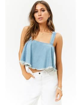 Frayed Chambray Top by Forever 21