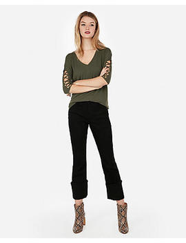 Express One Eleven Lace Up Sleeve London Tee by Express
