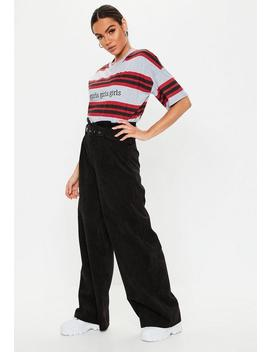 Black Paperbag Waist Cord Wide Leg Trousers by Missguided