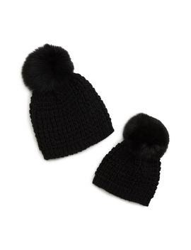 Mom & Me Knit Hats With Genuine Fox Fur Poms Set by Kyi Kyi